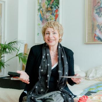 Helen Lauff in ihrem Atelier für TOP MAGAZIN Sarland, 2014